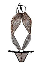 cheap -Women's Suits Nightwear - Backless, Leopard