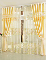 cheap -Curtains Drapes Bedroom Floral 100% Polyester Embroidery