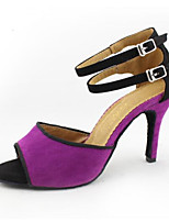 cheap -Women's Latin Shoes / Ballroom Shoes Suede Sneaker Slim High Heel Dance Shoes Purple / Leather / Practice