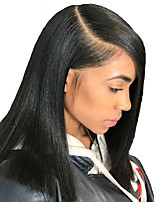 cheap -Remy Human Hair Lace Front Wig Brazilian Hair Natural Straight Wig Bob Haircut 150% With Baby Hair / Natural Hairline / African American Wig Women's Short Human Hair Lace Wig