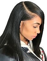 Недорогие -Remy Лента спереди Парик Бразильские волосы Естественный прямой Парик Стрижка боб 150% С детскими волосами / Природные волосы / Парик в афро-американском стиле Жен. Короткие