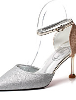 Недорогие -Жен. Обувь Полиуретан Лето С ремешком на лодыжке Обувь на каблуках На шпильке Заостренный носок Золотой / Серебряный / Розовый