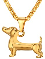 baratos -Homens Fashion Colares com Pendentes - Aço Inoxidável Cachorros Na moda, Fashion Dourado, Preto, Prata 55 cm Colar 1pç Para Presente, Diário
