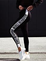 abordables -Femme Pantalon de yoga - Noir Des sports Lettre et chiffre Spandex Collants / Leggings Course / Running, Fitness Tenues de Sport Evacuation de l'humidité Elastique