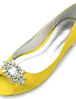 cheap -Women's Shoes Satin Spring & Summer Comfort / Ballerina Wedding Shoes Flat Heel Peep Toe Rhinestone / Sparkling Glitter Yellow / Fuchsia / Ivory / Party & Evening