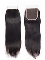 Недорогие -Монгольские волосы 4x4 Закрытие / Бесплатно Part Прямой Бесплатный Часть Швейцарское кружево Натуральные волосы Жен. Классический / Натуральный / обожаемый