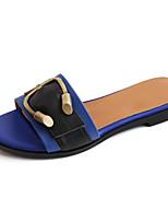 Недорогие -Жен. Обувь Наппа Leather Лето Удобная обувь Тапочки и Шлепанцы На плоской подошве Белый / Синий / Темно-русый