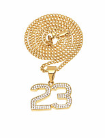 cheap -Men's Cubic Zirconia Stylish / Cuban Link Pendant Necklace / Chain Necklace - Stainless Number Unique Design, Vintage, European Cool Gold, Silver 60 cm Necklace Jewelry 1pc For Birthday, Gift