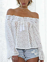 cheap -Women's Basic / Street chic T-shirt - Solid Colored Lace / Patchwork