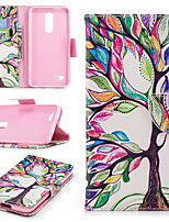 Недорогие -Кейс для Назначение LG K10 2018 Кошелек / Бумажник для карт / со стендом Чехол дерево Твердый Кожа PU для LG K10 2018