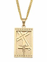 cheap -Men's Vintage Style / Cuban Link Pendant Necklace / Chain Necklace - Titanium Steel, Stainless Cross Stylish, European, Hip-Hop Gold, Silver 60 cm Necklace 1pc For Gift, Street