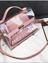 cheap -Women's Bags PVC(PolyVinyl Chloride) Shoulder Bag Pattern / Print Black / Blushing Pink / Brown