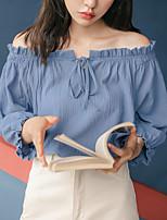 abordables -Mujer Noche Camisa, Hombros Caídos Un Color