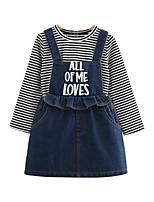Недорогие -Дети / Дети (1-4 лет) Девочки Синий и белый Полоски Длинный рукав Набор одежды