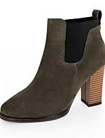 baratos -Mulheres Sapatos Camurça Primavera Curta / Ankle Botas Salto Robusto Dedo Apontado Botas Curtas / Ankle Preto / Cinzento / Festas & Noite