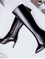 Недорогие -Жен. Обувь Наппа Leather Наступила зима Босоножки / Модная обувь Ботинки На шпильке Закрытый мыс Сапоги до колена Черный