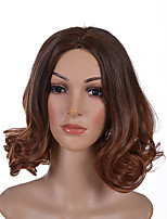 cheap -Synthetic Wig Wavy Burgundy Bob Haircut Synthetic Hair 14 inch Women / Ombre Hair / Middle Part Burgundy Wig Women's Mid Length Capless Black / Dark Auburn