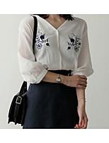 Недорогие -Жен. Рубашка Хлопок, V-образный вырез Цветочный принт