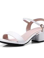 preiswerte -Damen Schuhe PU Frühling Sommer Komfort High Heels Blockabsatz Weiß / Schwarz / Beige