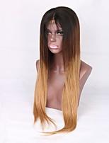 Недорогие -Remy Лента спереди Парик Перуанские волосы Шелковисто-прямые Блондинка Парик Средняя часть 130% Для темнокожих женщин Блондинка Жен. Средняя длина Омбре