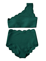 cheap -Women's Off Shoulder Tankini - Solid Colored High Waist