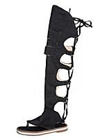 Недорогие -Жен. Обувь Деним Весна Модная обувь Ботинки На плоской подошве Открытый мыс Сапоги до колена Черный / Бежевый / Синий