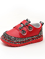 cheap -Girls' Shoes PU(Polyurethane) Spring & Summer Comfort Flats Walking Shoes Sequin / Magic Tape for Kids Black / Red / Pink