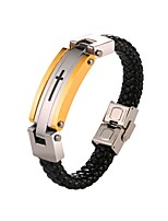 cheap -Men's Rope Loom Bracelet - Stainless Steel Cross Fashion Bracelet Gold For Gift / Daily