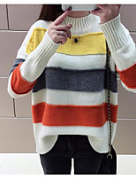 cheap -Women's Long Sleeve Cotton Pullover - Solid Colored / Striped