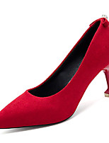 baratos -Mulheres Sapatos Couro Ecológico Verão Plataforma Básica Saltos Salto Agulha Dedo Apontado Preto / Vermelho