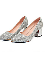 cheap -Women's Shoes Synthetics Winter Comfort / Basic Pump Wedding Shoes Chunky Heel Gold / Silver / Red