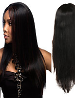 cheap -Human Hair Full Lace Wig Indian Hair Straight Wig Asymmetrical Haircut 130% / 150% / 180% Odor Free / Woven / New Arrival Black Women's Mid Length Human Hair Lace Wig / Fashion