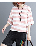 cheap -women's t-shirt - color block / striped round neck
