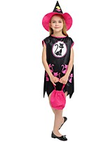 cheap -Cosplay Costume Girls' Halloween Carnival Children's Day Festival / Holiday Halloween Costumes Outfits Black Solid Colored Halloween Halloween