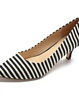 cheap -Women's Shoes Cotton Spring & Summer Basic Pump Heels Kitten Heel Pointed Toe Black / Blue / Striped