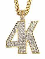 cheap -Men's AAA Cubic Zirconia Classic / Hollow Out Pendant Necklace / Long Necklace - Number Simple, Casual / Sporty, Fashion Gold, Silver 70 cm Necklace 1pc For Street, Holiday