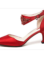cheap -Women's Shoes Satin Spring / Fall Comfort / Basic Pump Wedding Shoes Cone Heel Red