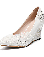 cheap -Women's Shoes PU(Polyurethane) Fall & Winter Basic Pump Wedding Shoes Wedge Heel Pointed Toe Rhinestone / Satin Flower / Sparkling Glitter White / Party & Evening