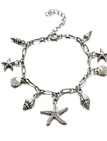 cheap -Classic Ankle Bracelet - Starfish Classic, Casual / Sporty, Fashion Silver For Carnival Holiday Women's
