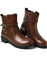 abordables -Femme Chaussures Polyuréthane Hiver Confort / Botillons Bottes Talon Bas Noir / Bleu / Brun Foncé