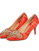 abordables -Femme Chaussures Satin Printemps Escarpin Basique Chaussures de mariage Talon Aiguille Rouge / Mariage