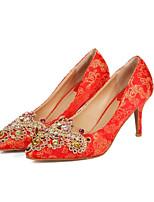 preiswerte -Damen Schuhe Satin Frühling Pumps Hochzeit Schuhe Stöckelabsatz Rot