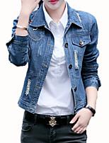 Недорогие -Жен. Джинсовая куртка Классический - Однотонный / Современный стиль