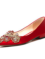 cheap -Women's Shoes Satin / Silk Spring Comfort Wedding Shoes Flat Heel Red