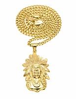 preiswerte -Herrn Stilvoll / Kubanischer Link Anhängerketten / Ketten - Rostfrei Gesicht, Glauben Erklärung, Europäisch, Hip-Hop Gold 70 cm Modische Halsketten 1pc Für Karnival, Strasse