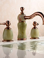 cheap -Bathroom Sink Faucet - Widespread / New Design Rose Gold Deck Mounted Two Handles Three Holes
