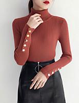 economico -Per donna Per uscire Manica lunga Taglia piccola Pullover Tinta unita A collo alto