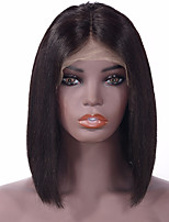 cheap -Human Hair Lace Front Wig Indian Hair Straight Wig Bob Haircut 130% 8-14 inch Women / Adorable / Lovely Natural Women's Human Hair Lace Wig