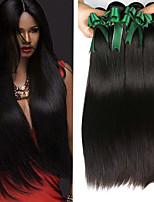 Недорогие -4 Связки Малазийские волосы Прямой Натуральные волосы Человека ткет Волосы / Удлинитель 8-28 дюймовый Нейтральный Естественный цвет Ткет человеческих волос Машинное плетение