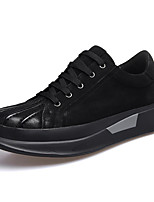 cheap -Men's Comfort Shoes Nappa Leather Spring / Fall Sneakers Black